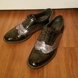 Black/Pewter Glitter Wingtip Oxford Shoes sz 8.5